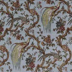 Stunning traditional print, featuring pheasants, in a gorgeous moody colour palette. Curtain Fabric, Pheasant, Palette, Fabrics, Traditional, Pattern, Color, Tejidos, Common Pheasant