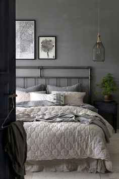 Ellos Home Elmira-päiväpeite pellavakambrikkia cm Grey Bedroom With Pop Of Color, Gray Bedroom Walls, Bedroom Decor Dark, Dark Gray Bedroom, Grey Bedroom Design, Grey Bedroom, Bedroom Decor Design, Dark Bedroom, Bedroom Wall Colors