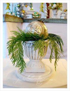 Five Minute Christmas Tip | Mercury Glass Ornament Urn Decor
