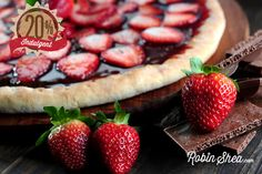 Chocolate Ganache Dessert Pizza with Pistachios and Strawberries - Robin Shea