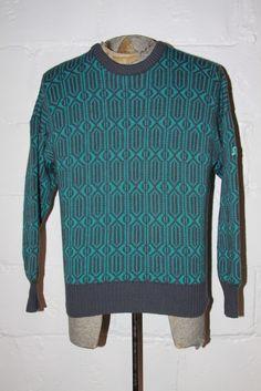 Vtg 80's Demetre Geometric Wool Turquoise Gray Ski Cosby Crewneck Sweater Sz M   eBay