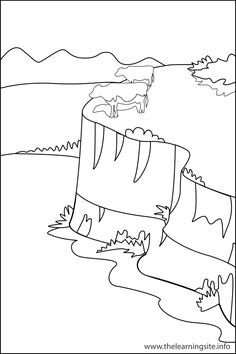 plateau landform coloring page - Geography Coloring Book