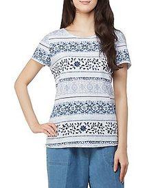 34413187f30 Allison Daley Wide Crew Neck Mix Stripe Print Lace Contrast Back Tee Stripe  Print