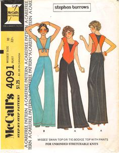 """16.99 USD  Pattern is factory folded and uncut. 1974; Size 10 Bust 32.5; The """"zoom"""" feature will allow you to take a closer look at the back of the pattern to get relevant fabric sizing and notion requirements. Thanks for looking!  Etsy Shop for RoxyPoindexter 1974; Size 10 Bust 32.5; Misses Swan Top or Tie Bodice Top & Pants; McCall's 4091; Stephen Burrows; Carefree Misses Vintage Sewing Pattern by RoxyPoindexter"""