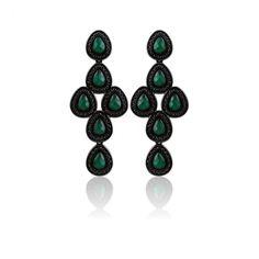 Brinco Negro Gotas de Ágata - Brinco semi joia em metalização negra e pedra natural ágata verde facetada - Exclusividade Dezeus Joais