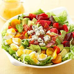 Cobb Salad This American garden favorite is filled with tasty ingredients, including crumbled blue cheese, turkey bacon, hard-cooked eggs, and chopped avocado. Its a healthy main-dish salad option at just 210 calories a serving. Healthy Salad Recipes, Diabetic Recipes, Cooking Recipes, Chickpea Recipes, Steak Recipes, Potato Recipes, Diabetic Salads, Vegetarian Recipes, Avocado Recipes
