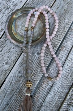 Long Tassel Necklace with Rose and Grey Quartz and by NORDeastHOME