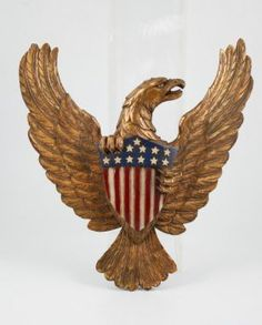 Carved, gilt and painted eagle clutching American Shield. on May 2016 Phoenix Tattoo Design, Skull Tattoo Design, Dragon Tattoo Designs, Tribal Tattoo Designs, Eagle Tattoos, Wing Tattoos, Chest Piece Tattoos, Chest Tattoo, Tribal Sleeve Tattoos