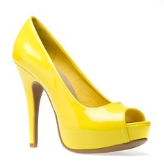 There is nothing mellow about this yellow, glossy, summery peep-toe