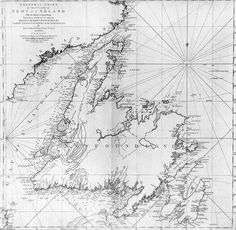 Cook's 1775 Map of Newfoundland. Surveyed by James Cook & Michael Lane, published by Thomas Jefferys, from the Centre for Newfoundland Studies at MUN via Wikimedia Commons. James Cook, Newfoundland And Labrador, Newfoundland Canada, Bolivia Travel, Kenya Travel, Ireland Beach, Ireland Travel, British Library, Block Island