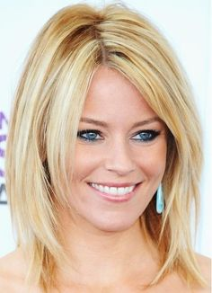 layered hairstyles for medium length hair | Picture of Medium Length Hair: Blonde Smooth Straight Hairstyle ...