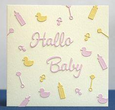 blog.karten-kunst.de - Hallo Baby. Memory Box Stanzschablone Baby Stuff, Karten-Kunst Stanzschablone Große Texte Hallo, Karten-Kunst Stanzschablone Große Texte Baby