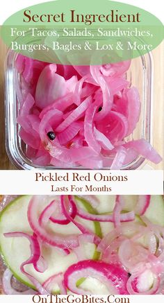 Easy, quick pickled red onions recipe is the secret condiment restaurants and caterers use to make their sandwiches, salads, tacos and chicken and fish dishes sing.  This zesty add on is super easy, quick and lasts for months in the refrigerator.  Quick pickled red onions take a few minutes to make with simple ingredients.  Plant based, clean eating.  OnTheGoBites.Com #quickpickledonions #easycondiment #homemade