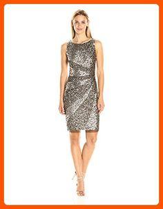 Adrianna Papell Women's Sleeveless Beaded Cocktail Dress, Bronze, 8 - All about women (*Amazon Partner-Link)