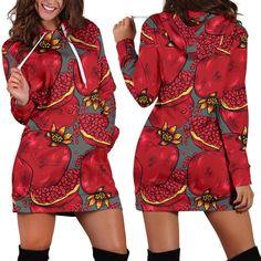 Pomegranate Pattern Woman Hoodie Dress Pattern Print, Print Patterns, Rectangle Area, Hoodie Dress, Pomegranate, High Definition, Custom Made, Print Design, Cold Shoulder Dress