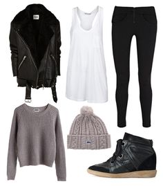 Acne leather jacket T by Alexander Wang pocket tank T by Alexander Wang zip jersey leggings Isabel Marant Betty sneakers Stussy beanie Weekday sweater