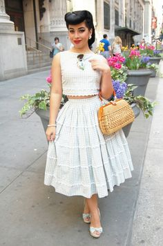 Seersucker perfection, love everything about this outfit down to the matching shoes! :: Retro Style :: Vintage Clothing:: Pin Up