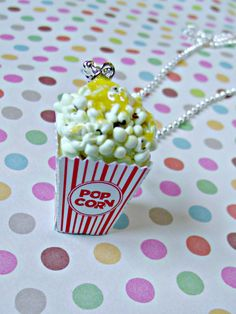 Popcorn Necklace Miniature Food Jewelry by kawaiibuddies