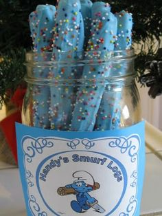 Smurf Logs: These are a great party treat -- or wrap them in cellophane as sweet party favor. http://www.ivillage.com/smurf-birthday-party-theme-and-ideas/6-a-542194?dst=iv%253AiVillage%253Asmurf-birthday-party-theme-and-ideas-542194