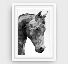Modern Abstract Print Horse Print Geometric by GalliniDesign Printables Only 5$