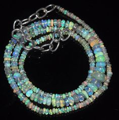 """27 Tcw 2 to 6 mm 16"""" Natural Ethiopian Welo Fire Opal Necklace ---159"""