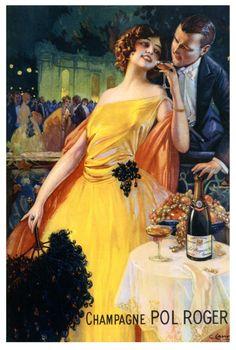 Ilustración de Gaspar Camps, a favor de la Champagne Pol Roger (1920).