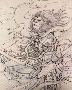 "2,610 Likes, 29 Comments - David Hoang (@davidhoangtattoo) on Instagram: ""Monkey king sketch. #sketch #drawing #monkeyking #irezumi #chronicink #asiantattoo #asianink…"""