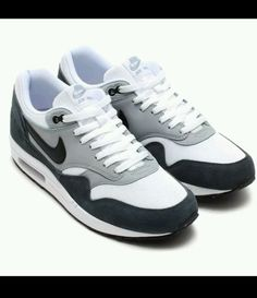 NIKE AIR MAX 1 ESSENTIAL WHTE/BLK-LT MGNT GRY-DK 537383-117 MN'S SZ`11 #Nike #AthleticSneakers