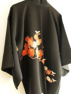 Vintage Japanese kimono Jacket, Haori, Damsk Silk, orange Kiku 77/126