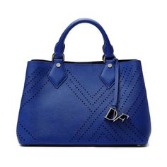 Diane von Furstenberg Voyage On-The-Go Small Tote ($298) ❤ liked on Polyvore featuring bags, handbags, tote bags, lapis shock, totes, blue leather tote bag, leather purses, perforated tote, leather handbags and genuine leather tote
