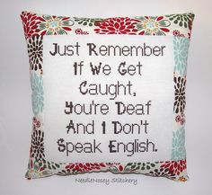Funny Cross Stitch Pillow, Red Brown and Blue Pillow, Decorative Pillow, BFF Quote by DaisyCombridge . lolme and my bff {dakota i love you lol thats so us } Cross Stitching, Cross Stitch Embroidery, Cross Stitch Patterns, Funny Embroidery, Bff Quotes, Funny Quotes, Stitch Crochet, Filet Crochet, Cross Stitch Quotes