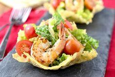 Shrimp Caesar Salad in Crispy Parmesan Cups by Iowa Girl Eats