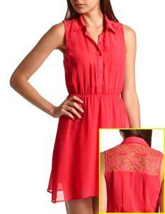 Lace-Inset Chiffon Shirt Dress