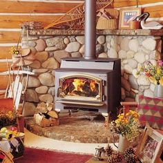 Wood Stove~~Add a beefy wood mantel to the top and no wood on the walls