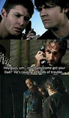 Love BOTH of these shows! Supernatural x The walking dead Walking Dead Funny, Fear The Walking Dead, Walking Dead Zombies, Walking Meme, Twd Memes, Memes Humor, Funny Memes, Supernatural Memes, Winchester Supernatural