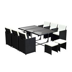 Shop for Outsunny Outdoor 11 Piece PE Rattan Wicker Table and Chair Patio Furniture Set. Get free delivery On EVERYTHING* Overstock - Your Online Garden & Patio Shop! Wicker Table And Chairs, Patio Chairs, Wicker Couch, Wicker Headboard, Dining Table, Wicker Bedroom, Dining Sets, Patio Dining, Outdoor Dining