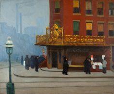 Edward Hopper (1882-1967) Coin de rue à New York (bar de quartier), 1913 Huile…
