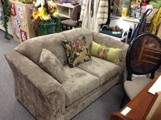 Love Seat - Fawn coloured love seat  microfibre upholstery.  Retailers floor model never used.  Neutral tone with contemporary style.  Item 288-3.  Price $395.00   - http://takeitorleaveit.co/2013/11/08/love-seat-2/