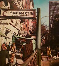 Estación de subte San Martín. 1970. San Martin, Broadway Shows, Vintage, Argentina, Norte, Fantasy Landscape, Scenery, Parking Lot, Be Nice