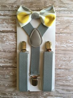Bowtie & Suspender Set/ Yellow and Gray Bow by TwicetheCharmShop