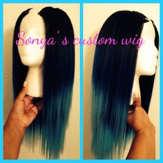Teal To The Blue Ombre Straight 100 Brazilian by SONYASCUSTOMWIGS Hair Inspo, Hair Inspiration, Blue Ombre, Teal, Diy Wig, Natural Hair Styles, Short Hair Styles, Different Hair Types, Hair Laid
