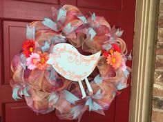 Peach deco mesh religious bird wreath Bible verse daisy teal blue