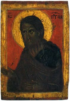 Icon of John The Baptist. Early Christian, Christian Art, Religious Icons, Religious Art, Saint George And The Dragon, Romance Art, John The Baptist, African American History, History Facts