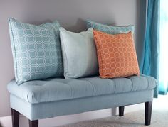 Bring HGTV HOME in a whole new way  Awesome patterned pillows and tuffted bench!