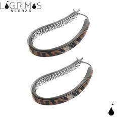 Pendientes Aro de plata 925 mm y esmaltado Tigre con circonitas en interior. Cierre clip.  http://www.lagrimasnegras.com/pendientes/79-pendiente-aro-animal-print.html