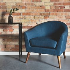 Be bold and bright with this teal blue fabric accent chair. The Oxford chair is crafted with espresso stained legs and a mid-century inspiru2026 & Be bold and bright with this teal blue fabric accent chair. The ...