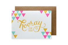 Hooray Letterpress Card by ParrottDesignStudio on Etsy, $4.50