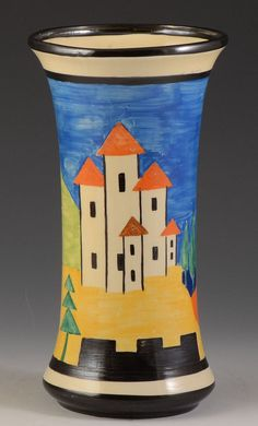 A Superb and very rare 205 shaped vase decorated in the Blue colourway of Applique Lucerne. This will date to 1930 and is a wonderful rare vase. A full and bold version of the pattern decorated around the entire body in fresh and very clean colours.   eBay!