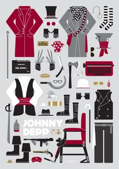 Johnny Depp Movie Parts | Limited Edition Poster by Emma Butler, via Behance