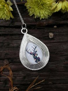 Sterling Silver Deer Necklace Cameo Pendant Handmade Floral Fall Jewelry
